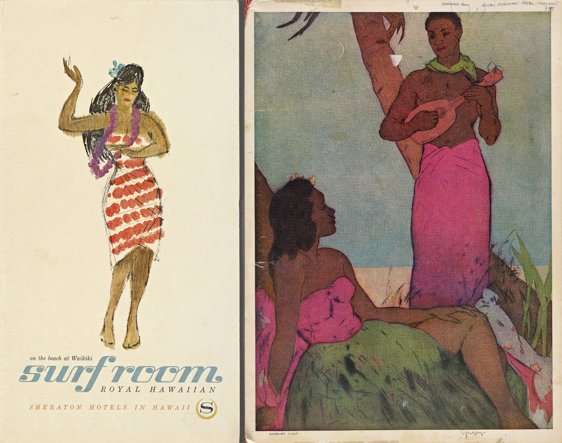 Colorful covers of menus from the Royal Hawaiian Hotel (left) and the Monarch Room Royal Hawaiian Hotel. Photo: New York Public Library