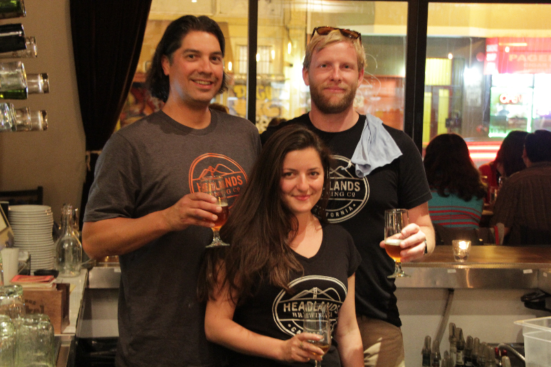 Phil Cutti, Patrick Horn and Inna Volynskaya of Headlands Brewing Co. Photo: Courtesy of Headlands