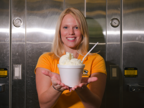 "Former University of Missouri graduate student Elizabeth Fenner poses with her ""flavor release""€ ice cream that shifts from vanilla to cherry flavor in the mouth. Photo: University of Missouri News Bureau"