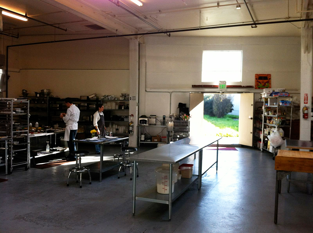 Nosh SF and SF Private Chef commercial kitchen in Bayview - with view of outdoor garden. Photo: Courtesy of Nosh SF