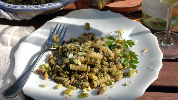 Julia della Croce says pistachio pesto is an economical — and delicious — alternative when Italian pine nuts can cost up to $120 per pound. Photo: Nathan Hoyt/Courtesy of Julia della Croce