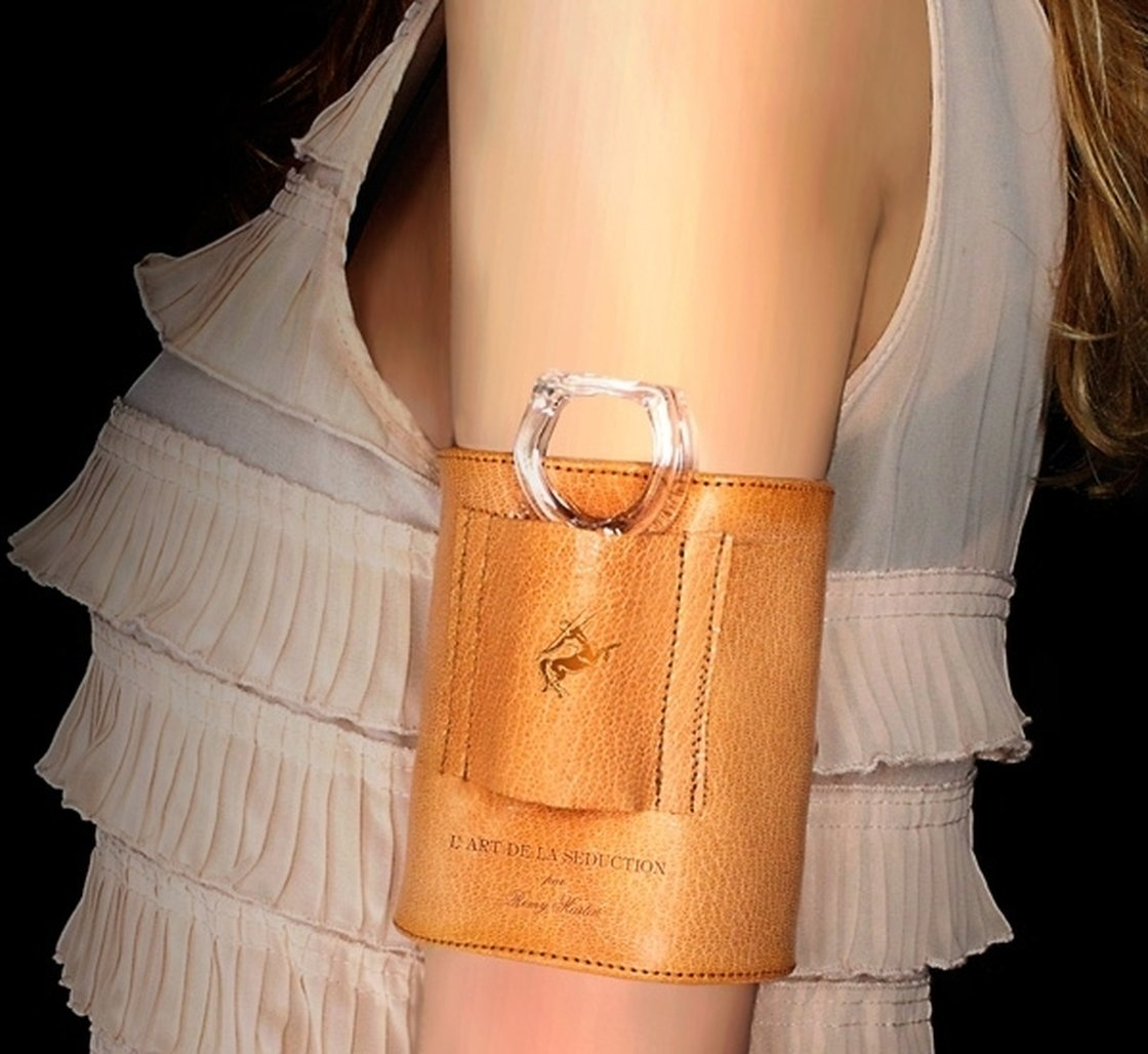 Designer Merve Kahraman also created a leather cuff for carrying the cognac tasting rings. Photo: Courtesy of Remy Martin