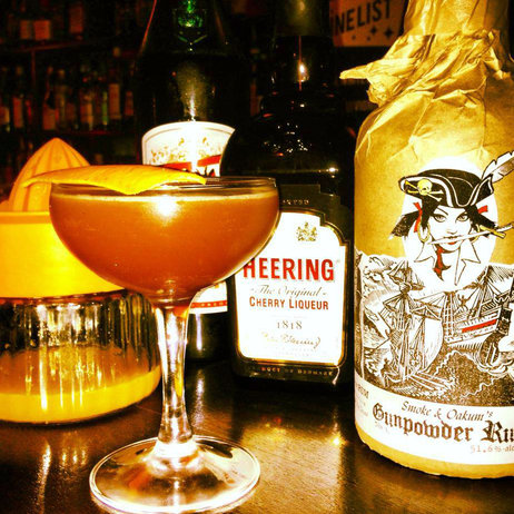 A blood and sand made with Ben Simpson's gunpowder-infused rum. Photo: Smoke & Oakum's Gunpowder Rum/Facebook