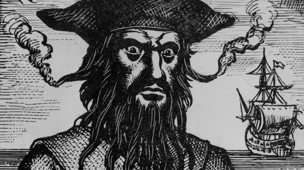 Captain Edward Teach, better known as Blackbeard, is said to have tucked slow-burning fuses into his beard and lit them on fire before plundering towns for gold and rum. Photo: Hulton Archive Circa/Getty Images