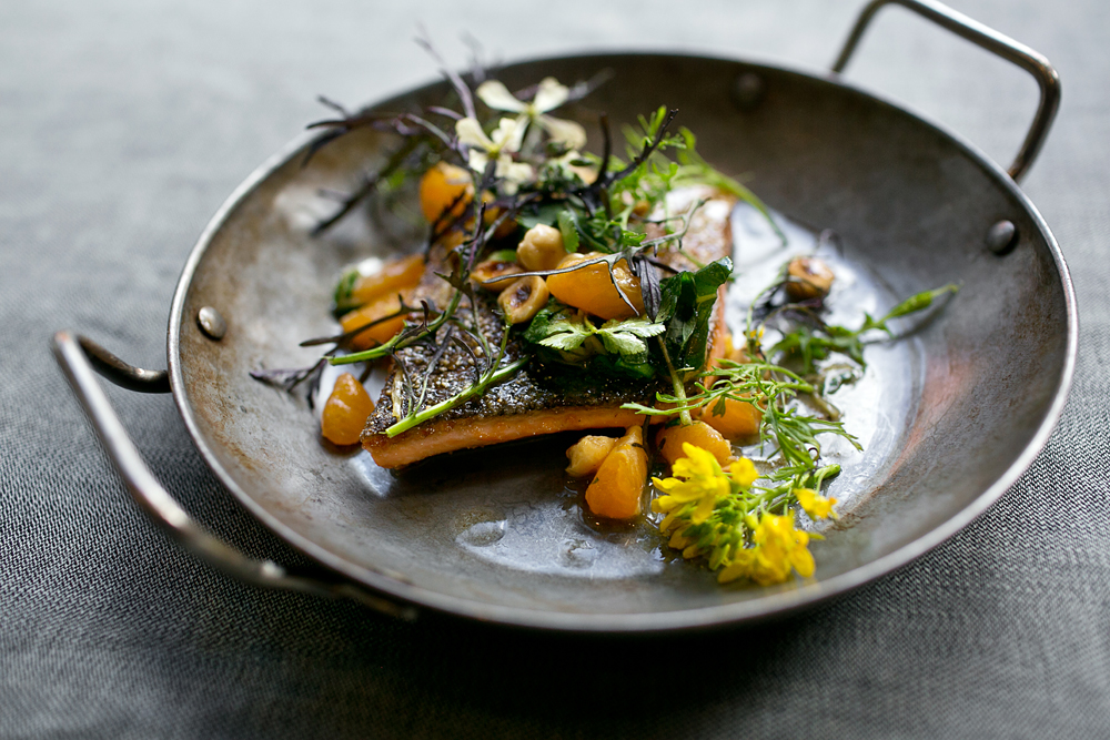 Red trout, mandarin, hazelnut-garum brown butter. Photo: Dylan + Jeni