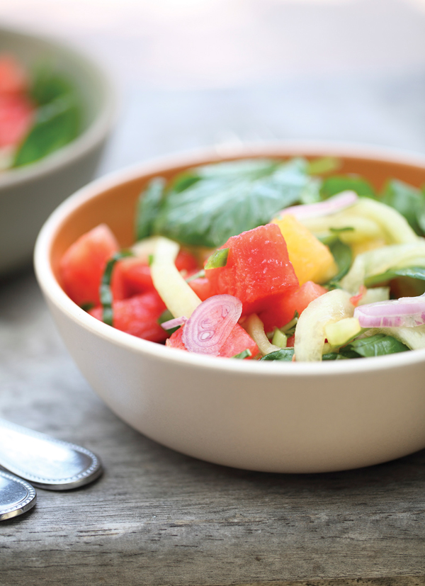 Thai Watermelon Salad With Crunchy Watermelon Rind. Photo: Clay McLachlan