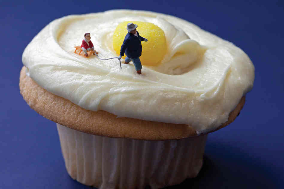 "Lemon Cupcake Sledding: ""It seemed an opportune time to school little Danny on the pitfalls of eating yellow snow."" Photo: Christopher Boffoli/Courtesy Workman Publishing"