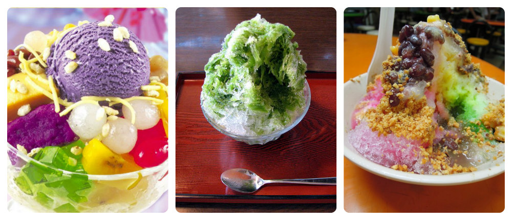 Sweet and Icy. Left: Halo-halo, photo: tumbler??. Center: Kakigori, photo: Chris 73, wikimedia commons. Right: Ice Kachang, photo: Anna Mindess