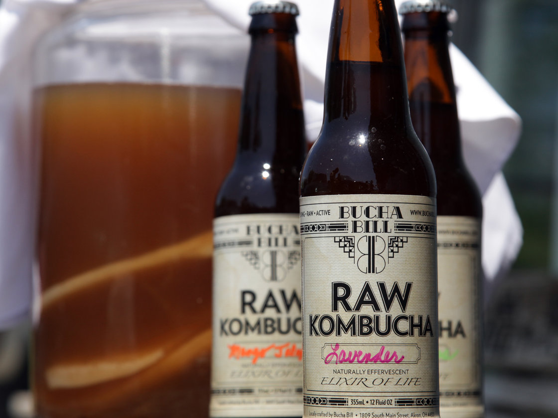 Kombucha made by artisan tea brewer Bill Bond in Akron, Ohio, comes in an array of flavors, such as lemongrass, ginger, blueberry and watermelon. Photo: Peggy Turbett/The Plain Dealer /Landov