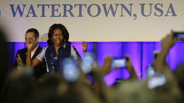 First lady Michelle Obama participates in an event at Watertown High School to encourage people to drink more water. Photo: Morry Gash/AP