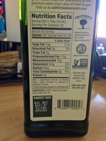 A bottle of California Olive Ranch oil with the harvest date. Photo: Courtesy of Alexandra Molinaro