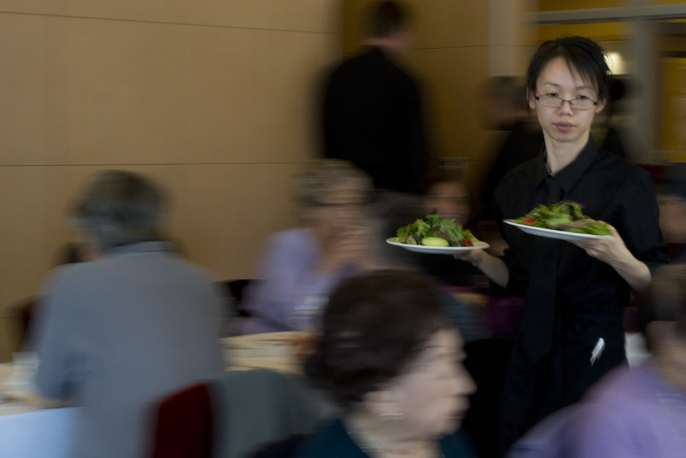 City College of San Francisco student Yan N. waits on guests at The Educated Palate, the school's full service restaurant at its Downtown center. Photo: Sara Bloomberg