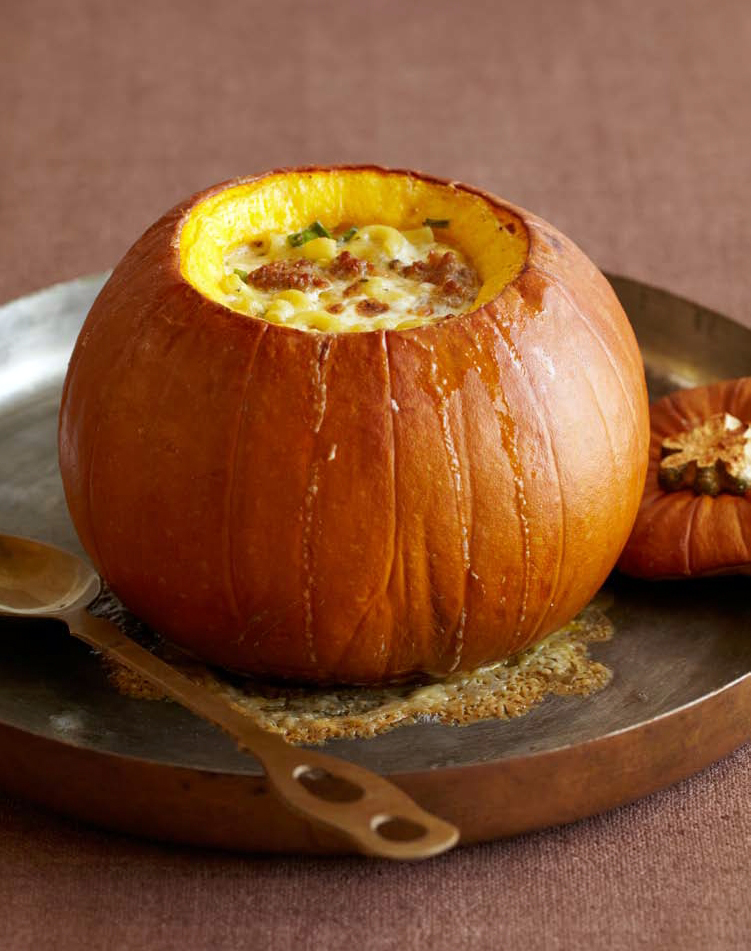 Pumpkin Stuffed with Fontina, Italian sausage and macaroni.  Photo: Matt Armendariz, Courtesy of Little, Brown and Company