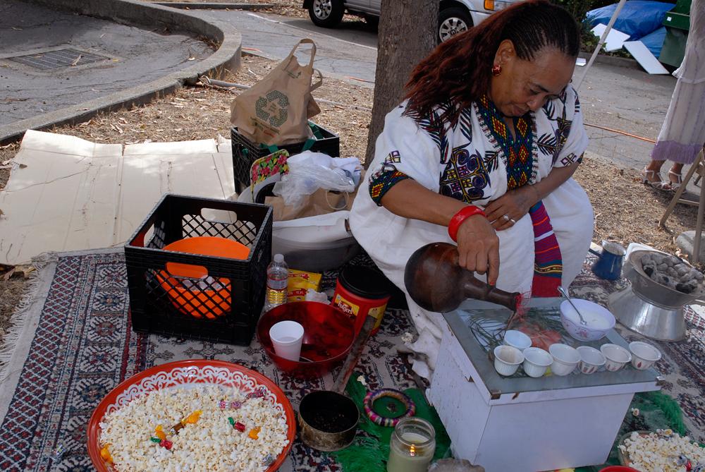 Zafu Belete performs Ethiopian coffee ceremony with popcorn. Photo: Wendy Goodfriend