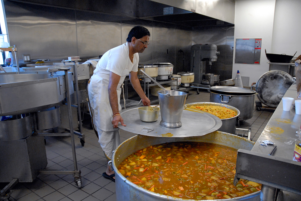 In the public kitchen enormous pots are used by the temple cooks to prepare holiday feasts. Photo: Wendy Goodfriend