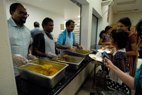 Volunteers serving food at the celebration honoring Ganesha. Photo: Wendy Goodfriend