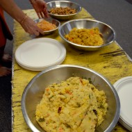 Vegetarian dishes served at the celebration of Ganesha. Photo: Wendy Goodfriend