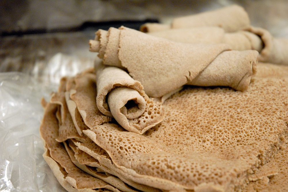 Injera - Ethiopian bread that is used to eat the food with the hands. Photo: Wendy Goodfriend