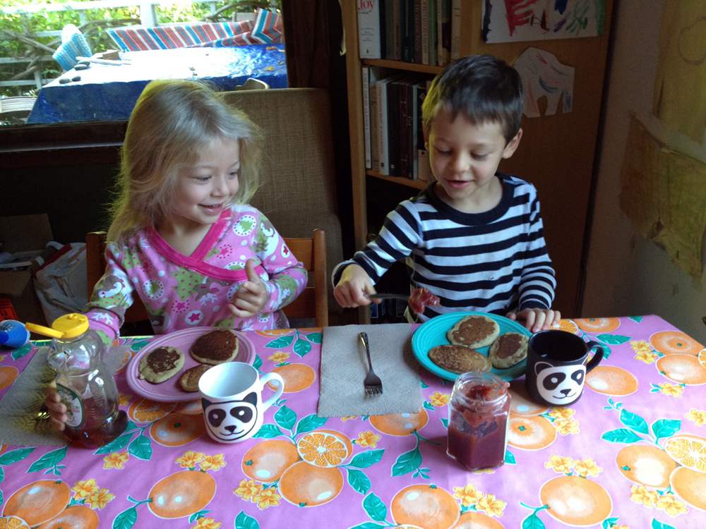 Children eating a gluten-free pancake breakfast. Photo: Dara Thompson