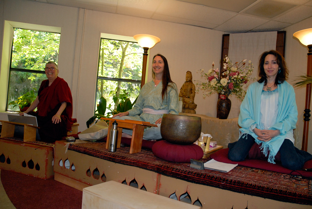 Mindful Eating retreat teachers (left to right): Jampa Sangmo, Andrea Lieberstein and Elissa Epel. Photo: Wendy Goodfriend
