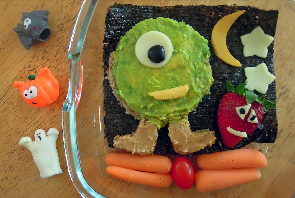 Avocado monster with cheese accents. Photo + Bento: Anna Mindess