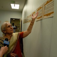 Prabha Duneja shares the food-specific prayers in the temple kitchen. Photo: Wendy Goodfriend