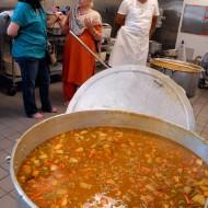 Rachael Myrow interviews Prabha Duneja in the temple kitchen. Photo: Wendy Goodfriend