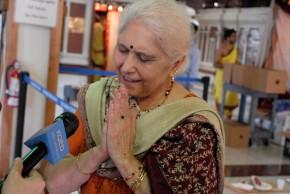 Prabha Duneja being interviewed by Rachael Myrow. Photo: Wendy Goodfriend