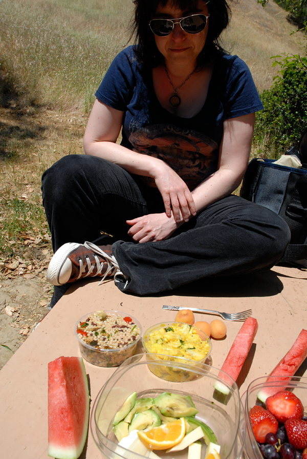 Rachael Myrow contemplates lunch at the Mindful Eating retreat at Spirit Rock. Photo: Wendy Goodfriend
