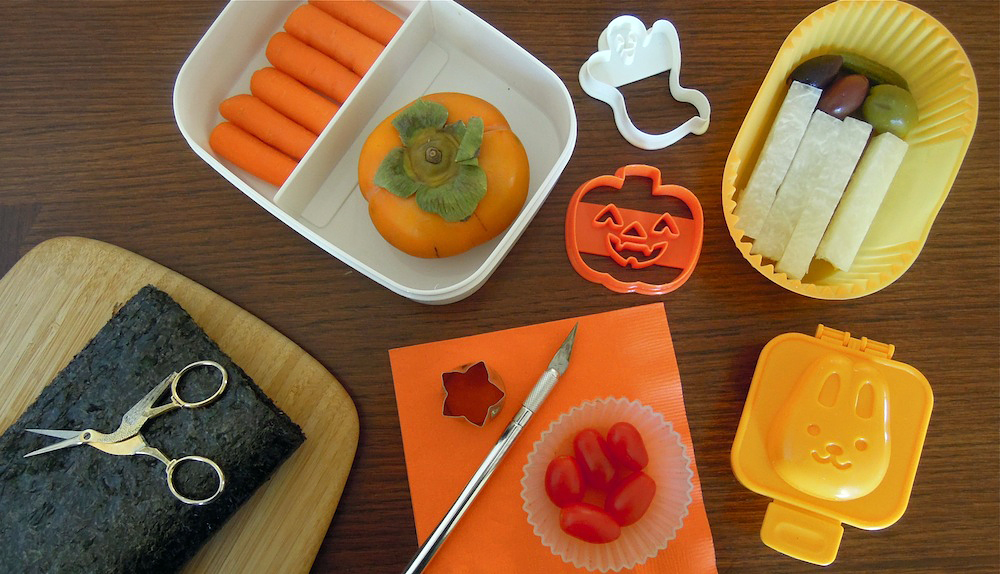 Optional tools include an Exacto knife, cookie cutters, egg mold and containers. Photo + Bento: Anna Mindess