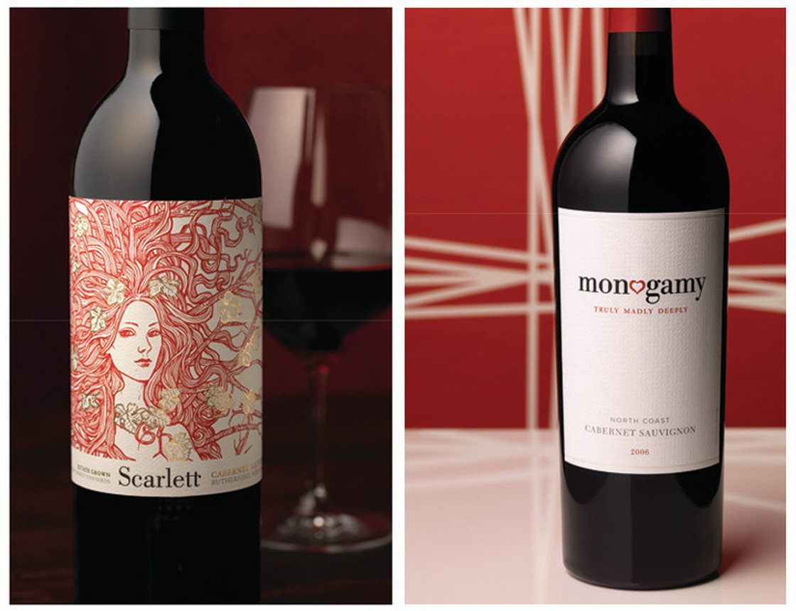 Shelf pop: Brilliant red ink and an arresting illustration make Scarlett stand out in a sea of Napa cabernet sauvignons. A splash of gold adds richness and elegance. Photo: Tucker & Hossler/Courtesy of CF Napa Brand Design