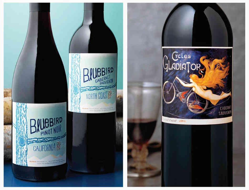 Left: A hand-drawn typeface on Bluebird wines conveys a youthful, innovative feeling, while the puffy, raised lettering makes the $12.99 bottle appear more expensive. Right: When the Hahn family switched their cabernet sauvignon to this label, the wine started flying off the shelves — and its image of a naked lady helped get it banned in Alabama. Photo: Tucker & Hossler/Courtesy of CF Napa Brand Design