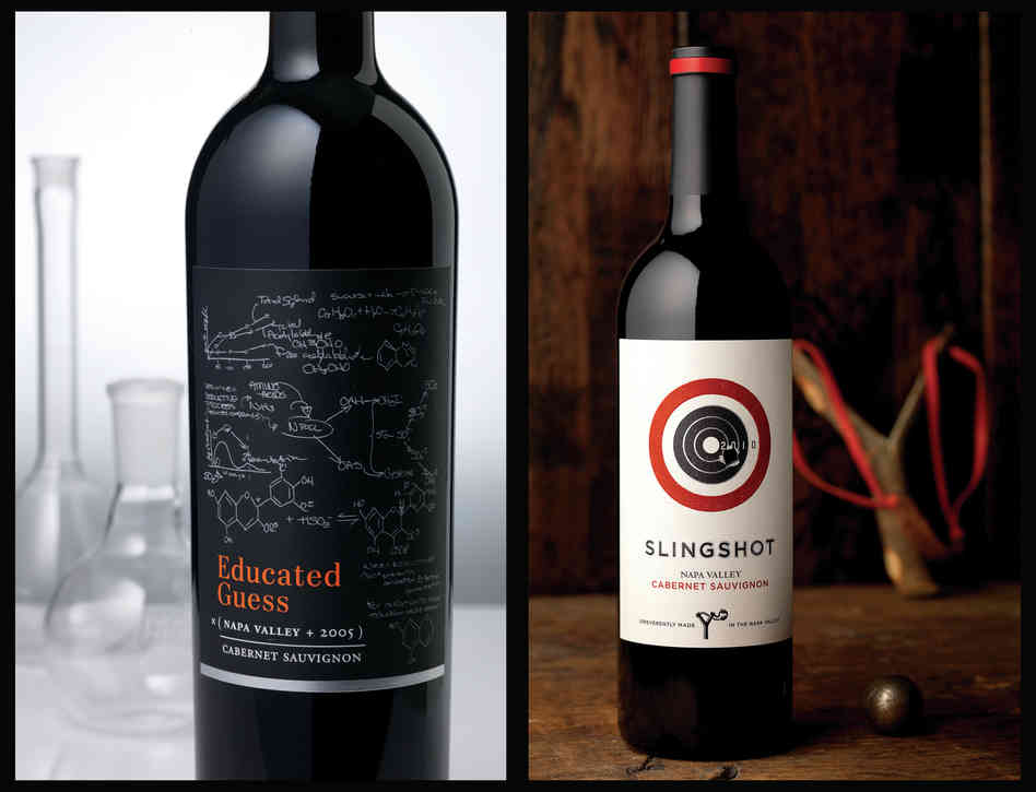 When a label goes for something whimsical, it must be clever, too - like these chemical reactions, which actually occur during fermentation. (Full disclosure: I have personally bought the wine on the left because I'm a sucker for chemistry that's correct.) At right: The label for Slingshot looks like someone actually used it for target practice. Photo: Tucker & Hossler/Courtesy of CF Napa Brand Design