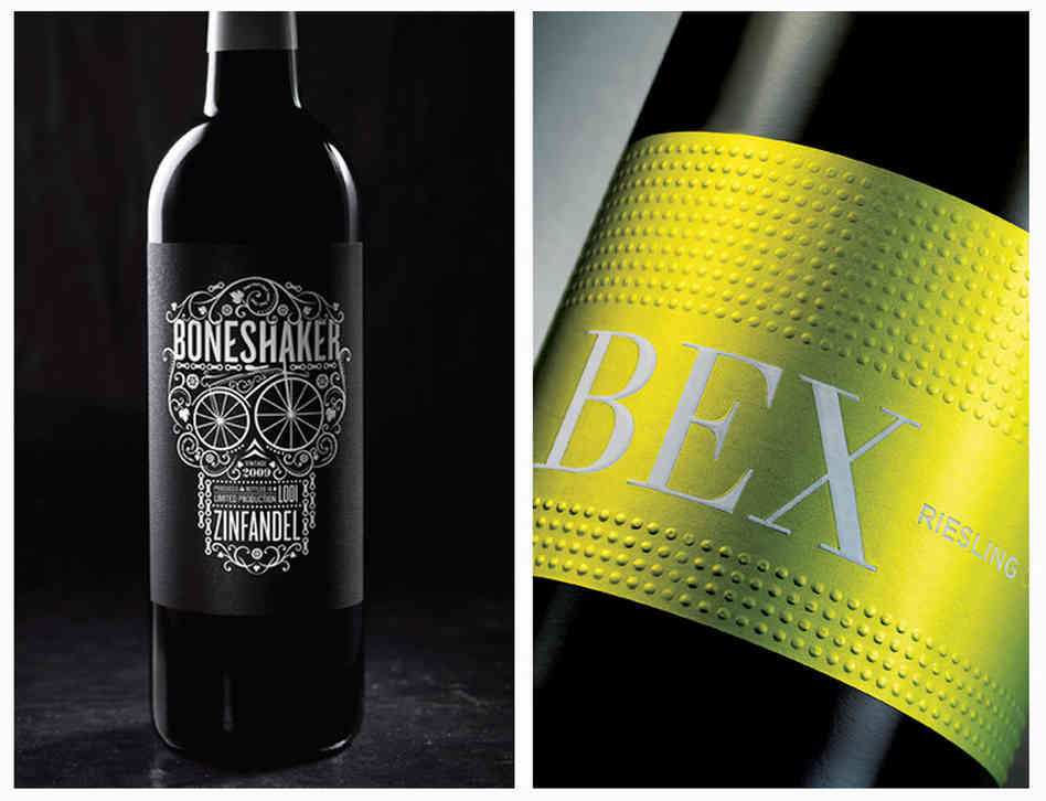Hip and modern: The skull and bicycle gears on the Bone Shaker label speak to the hipster in all of us, while the clean, bold design of the BEX riesling sets it apart from other stodgy European labels and evokes the precision of German auto engineering. Photo: Tucker & Hossler/Courtesy of CF Napa Brand Design