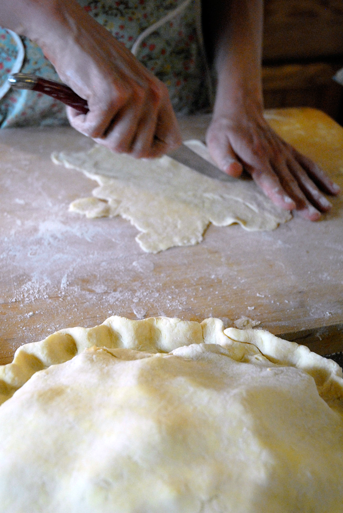 Use extra dough from trimming to decorate top of pie. Photo: Wendy Goodfriend