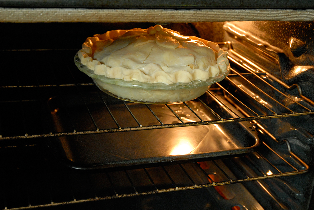 Place your pie on a baking sheet in preheated 400ºF oven. Bake for 45 to 60 minutes. Photo: Wendy Goodfriend