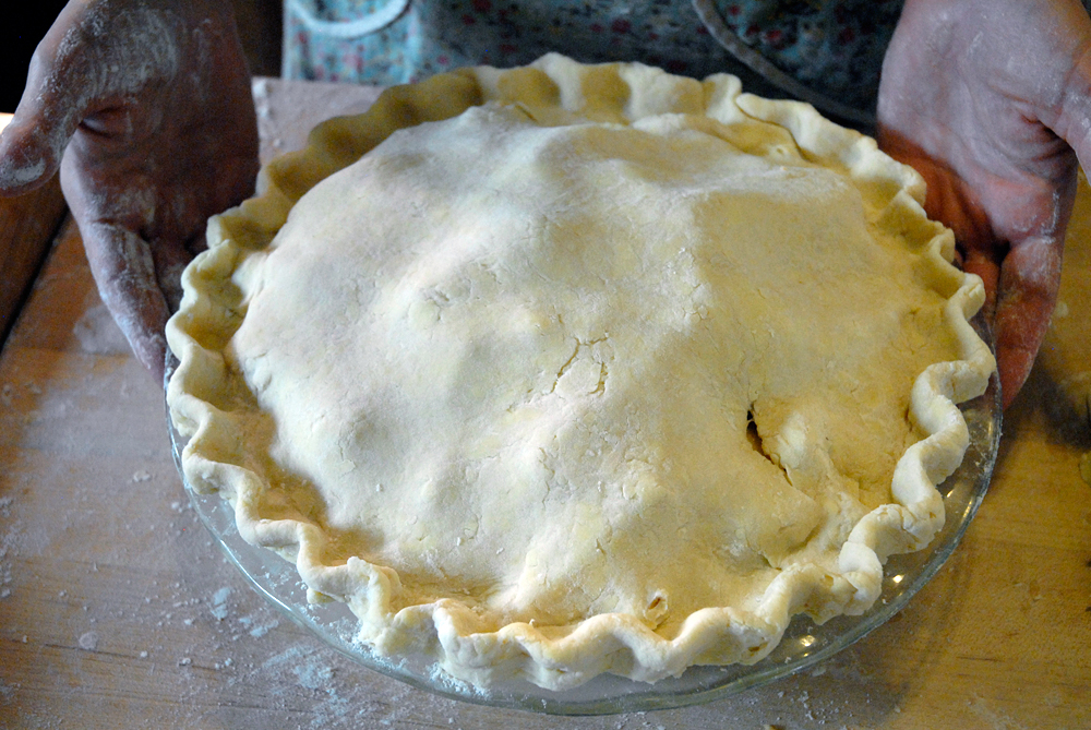 The pie fully crimped and ready for decoration. Photo: Wendy Goodfriend