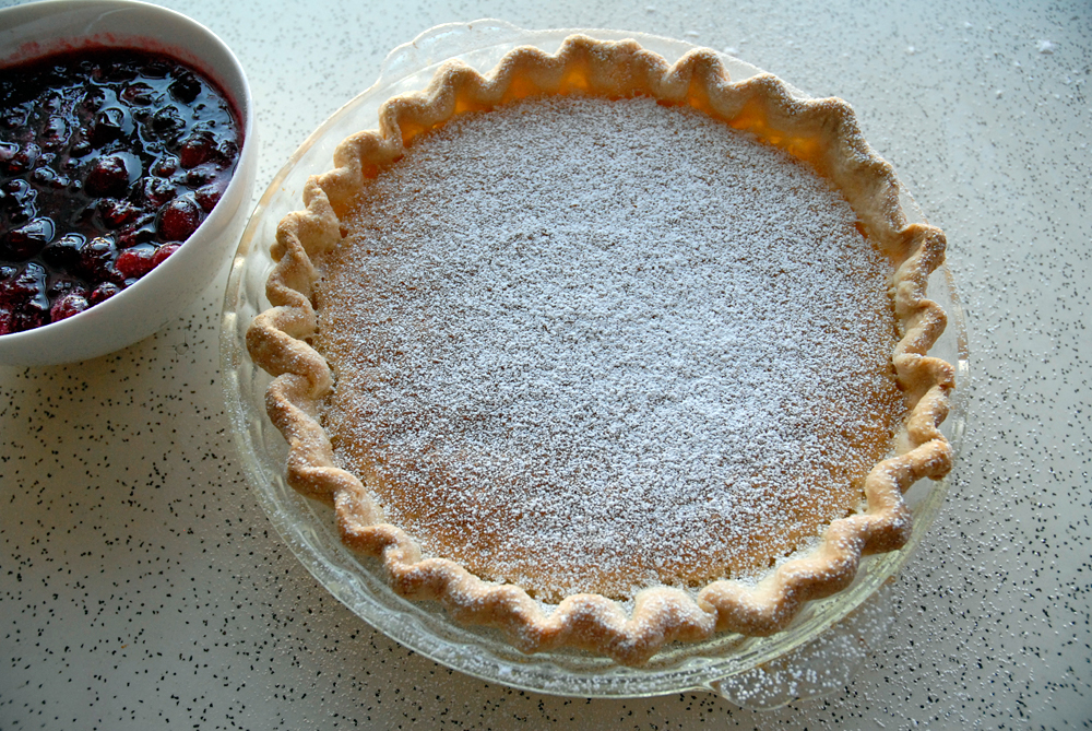 Buttermilk Pie with Fresh Cranberry Compote. Photo: Wendy Goodfriend