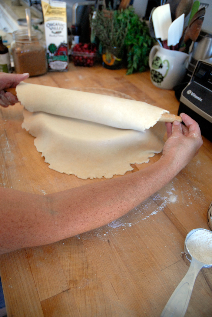 Use rolling pin to line a 9-inch pie pan or dish. Photo: Wendy Goodfriend