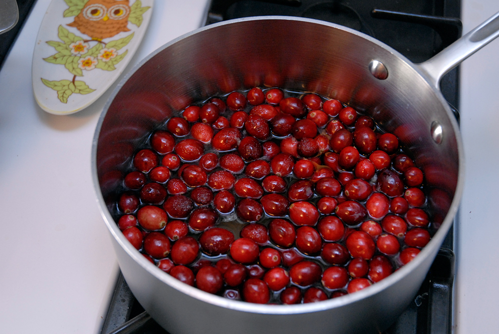 In a saucepan over medium heat, stir together the cranberries, 1 cup water, the sugar, lemon zest and lemon juice. Photo: Wendy Goodfriend
