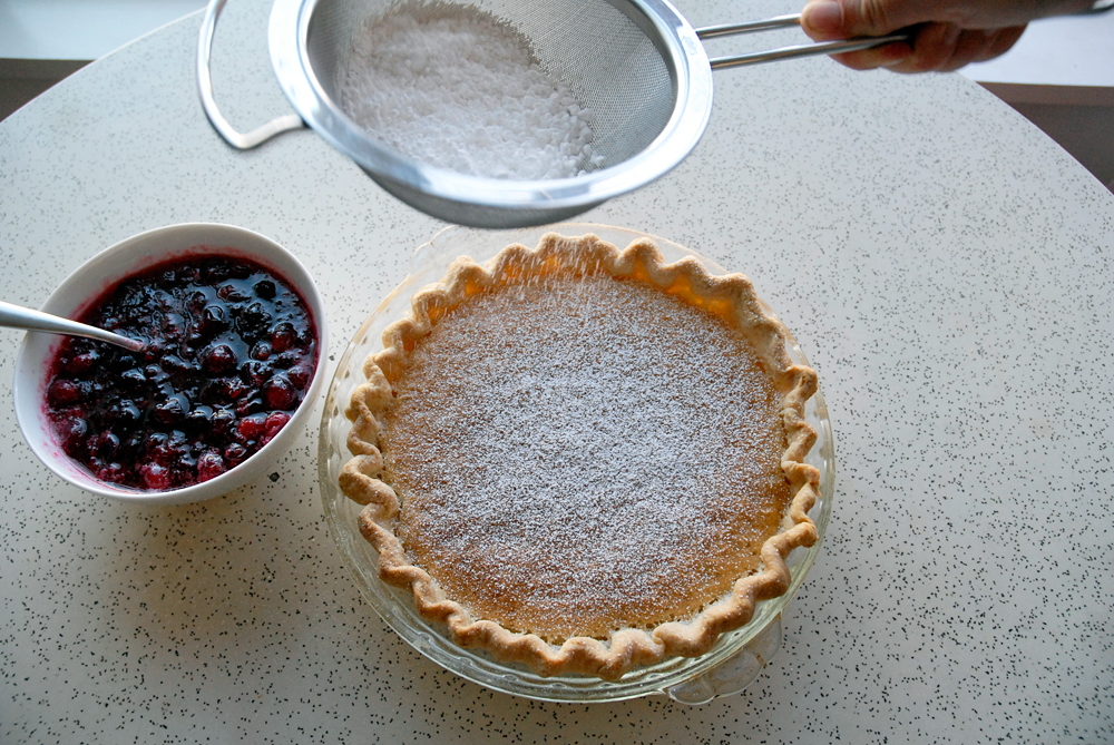 To serve dust the pie with confectioners' sugar and serve with a big scoop of compote. Photo: Wendy Goodfriend