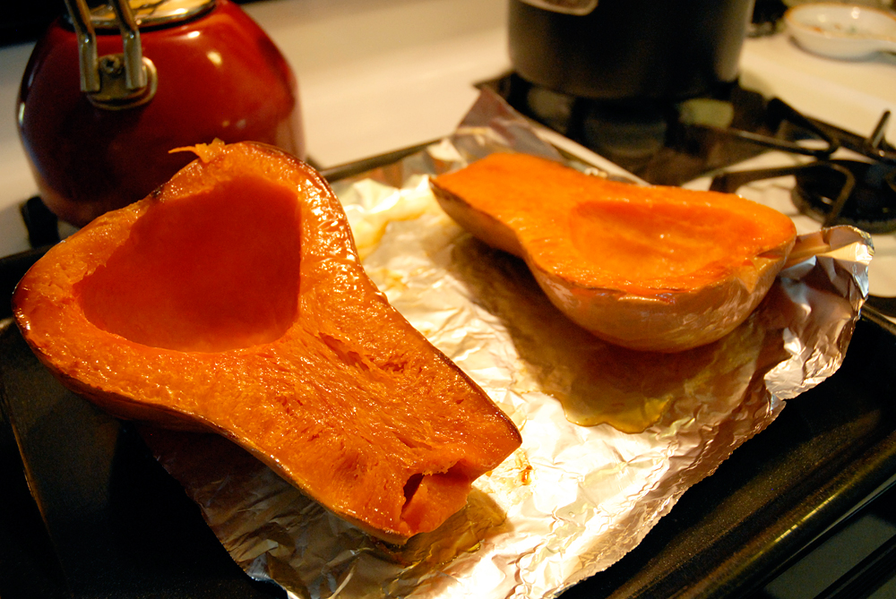After 45-60 minutes remove baking sheet from oven. Flip the squash halves cut sides up, and let cool. Photo: Wendy Goodfriend