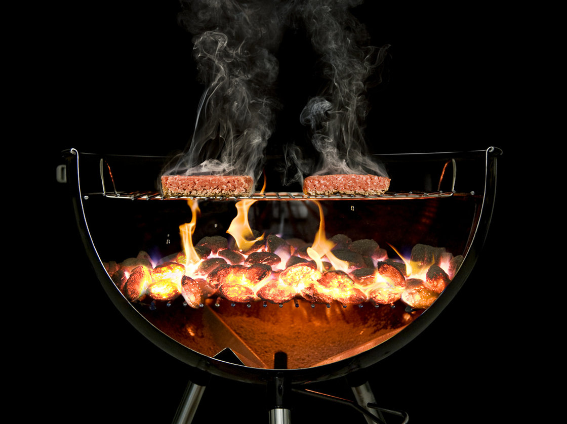 To capture the magic of grilling, the team at The Cooking Lab sawed a Weber grill in half and then combined 30 photographs together. Photo: Ryan Matthew Smith/Courtesy of The Cooking Lab
