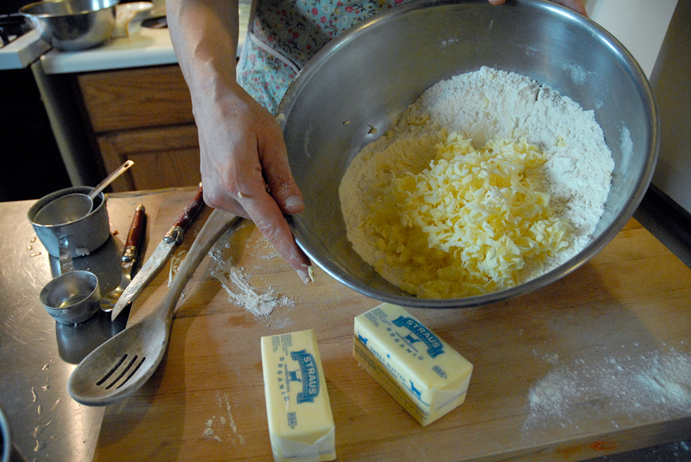 Toss lightly with the flour to cover–this will help keep the butter curls from clumping or sticking together. Photo: Wendy Goodfriend