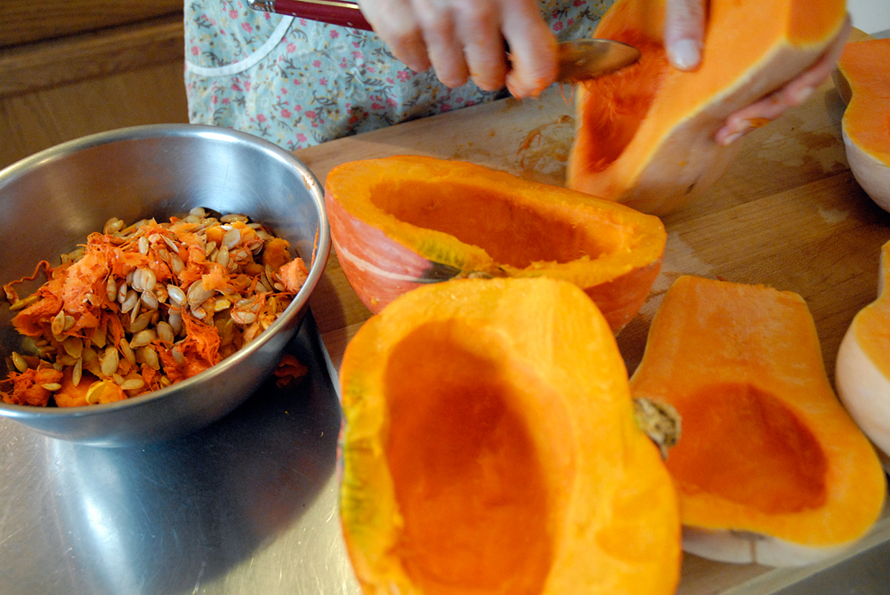 Finish scraping out both types of squash. Photo: Wendy Goodfriend