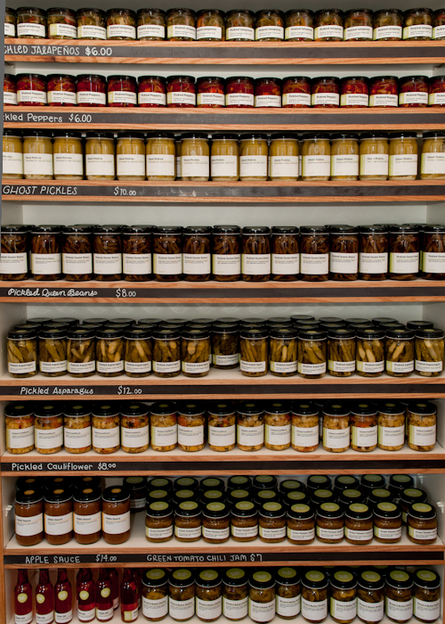 Housemade canned goods. Photo: Naomi Fiss