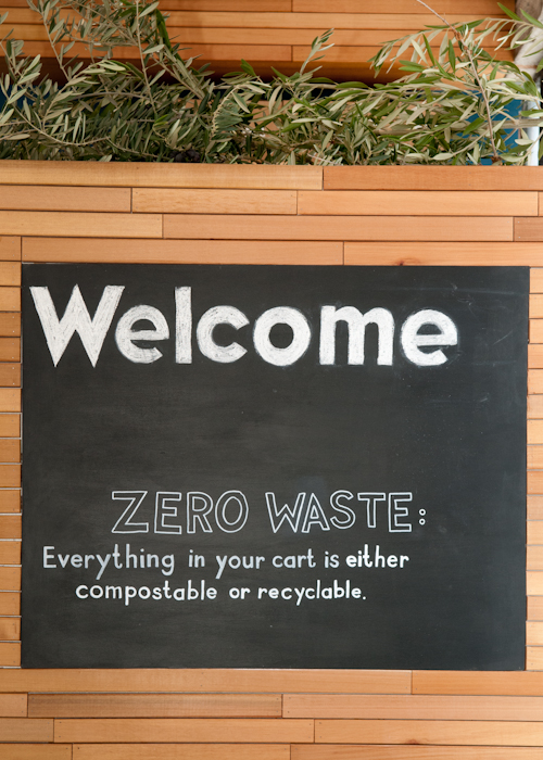 """Zero Waste"" sign. Everything in your cart is either compostable or recyclable. Photo: Naomi Fiss"