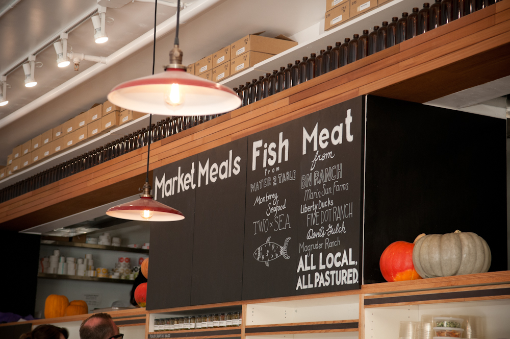 Signage for Fish and Meat revealing local sources. Photo: Naomi Fiss
