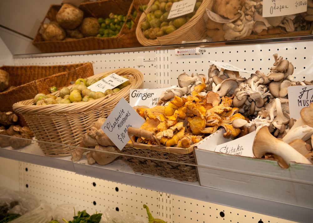 Fresh mushrooms and other locally sourced produce. Photo: Naomi Fiss