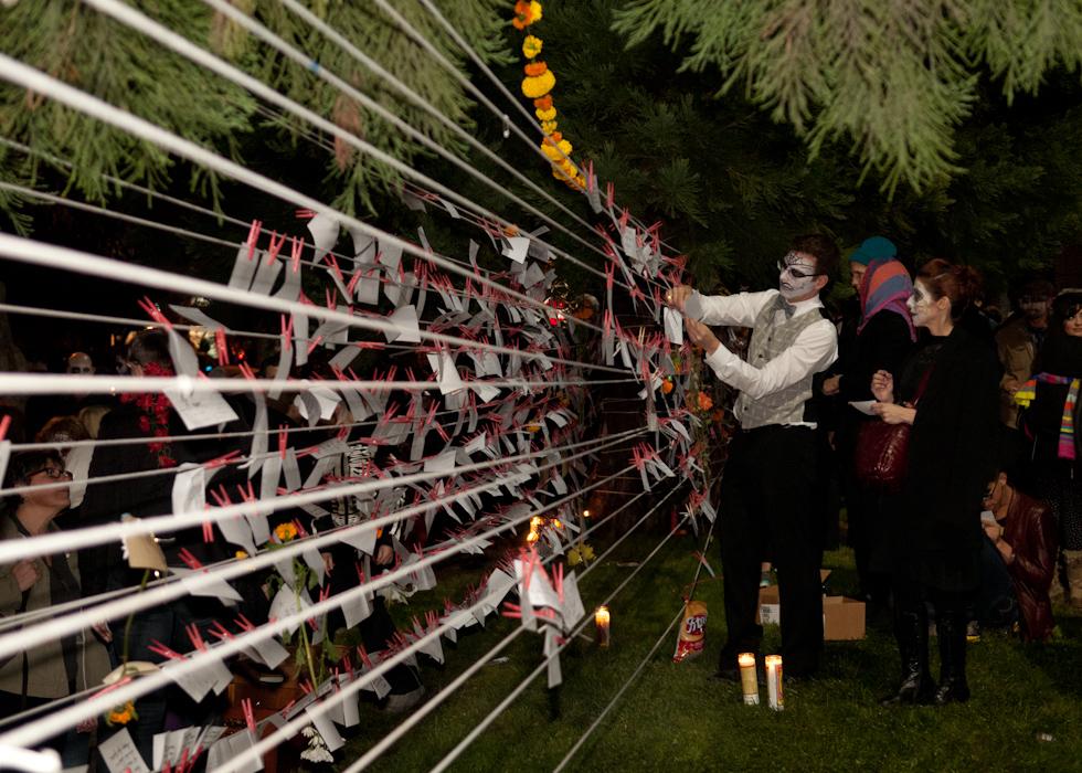 Performance piece: public memorial altar. Photo: Naomi Fiss